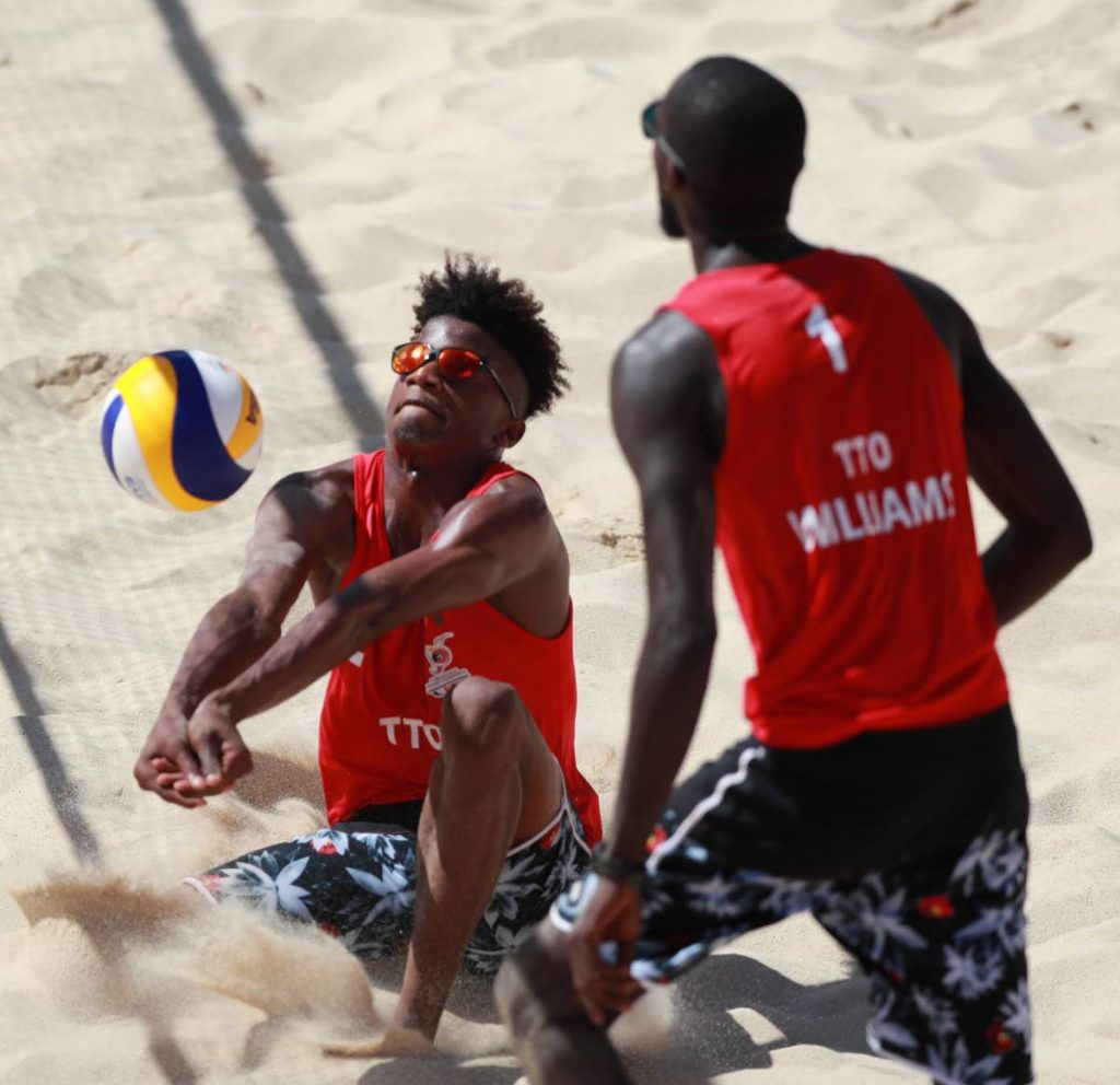 Team TTO's Men's Beach Volleyball team's Daynte Stewart (L) and Daneil Williams (R) have been named on TTO's men's team for the upcoming Olympic qualification semi-finals and finals in Mexico. - Allan V. Crane
