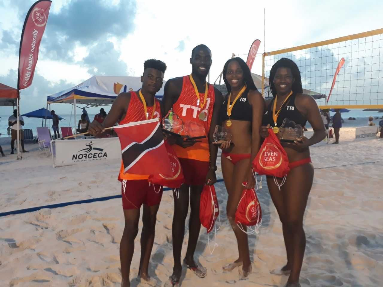 T&T's beach volleyballers Daneil Williams, from left, Daynte Stewart, Abby Blackman and Rheeza Grant.